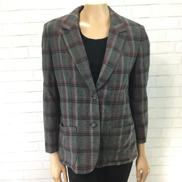 4a2f3b2c73 Vintage Wool Pendleton Green Plaid Blazer Sz 14-16.  M 5c34f267f63eea5eb65bf0f3